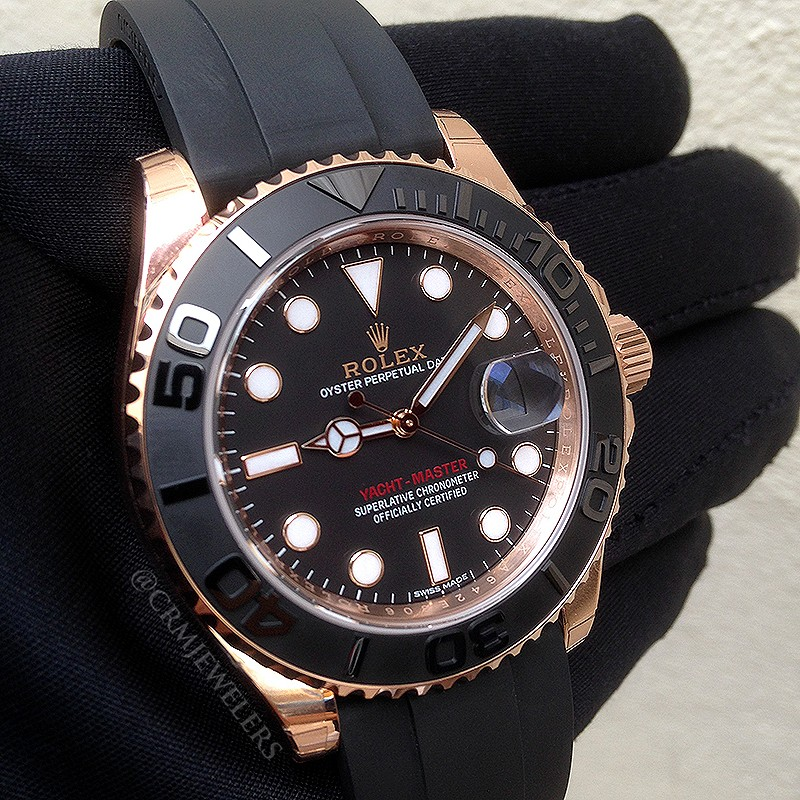 Rolex Yachtmaster Rose Gold Rubber Strap