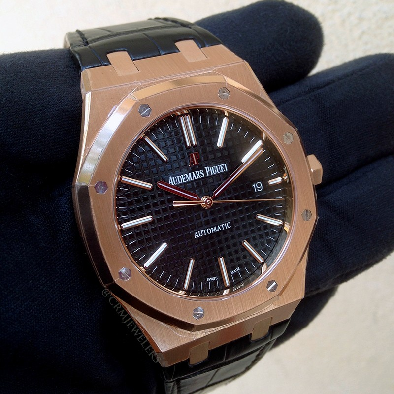 Audemars Piguet Royal Oak Rose Gold Black Leather Strap CRM
