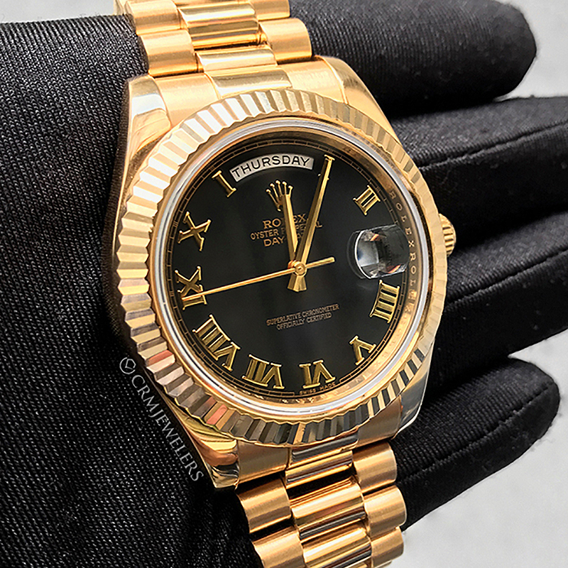 Rolex Day Date Ii Gold Black Roman