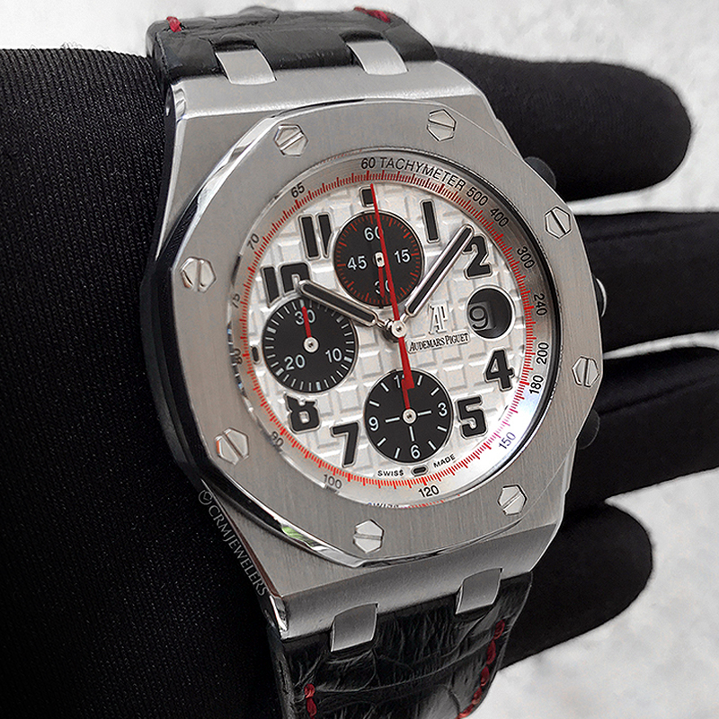 Audemars piguet royal oak offshore chrono stainless silver tone crm jewelers miami fl for Royal oak offshore vampire