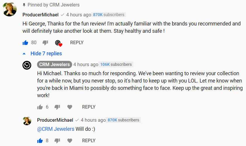 producer michael youtube comment
